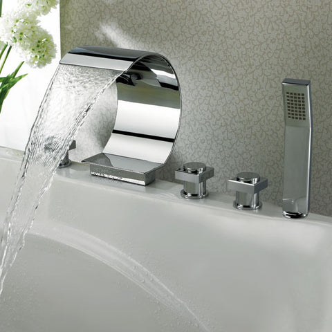 Sumerain Deck Mounted Roman Tub Faucet w/ Hand Shower S2049CW