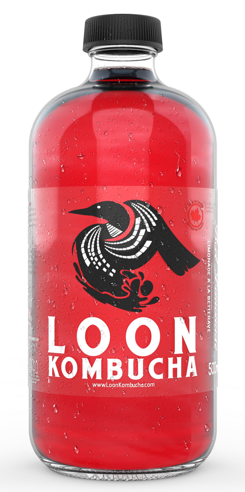 Front view of Loon Kombucha, 500 mL, red coloured, Beet Lemonade bottle