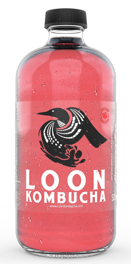 Front view of Loon Kombucha, 500 mL, rose coloured, Very Cranberry bottle