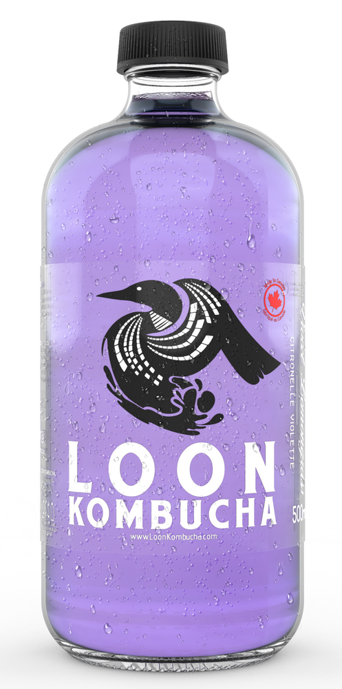 Front view of Loon Kombucha, 500 mL, violet coloured, Violet Lemongrass bottle