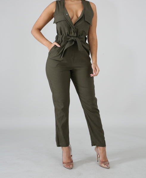 Army Pocketed Jumpsuit
