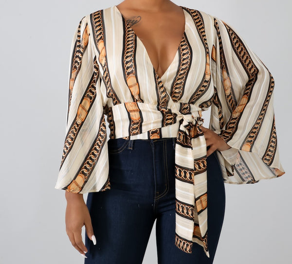 Gold Chain Striped Blouse