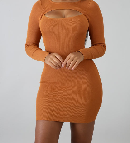 Nude Body-Con Dress