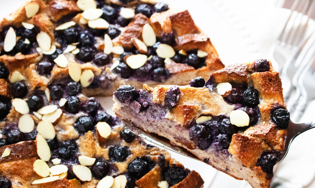 Blueberry Almond Protein French Toast Bake