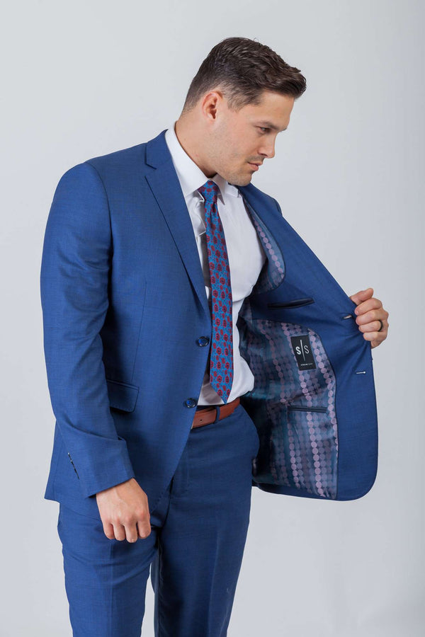Med Blue Sharkskin Wool Stretch Suit - Men Suits