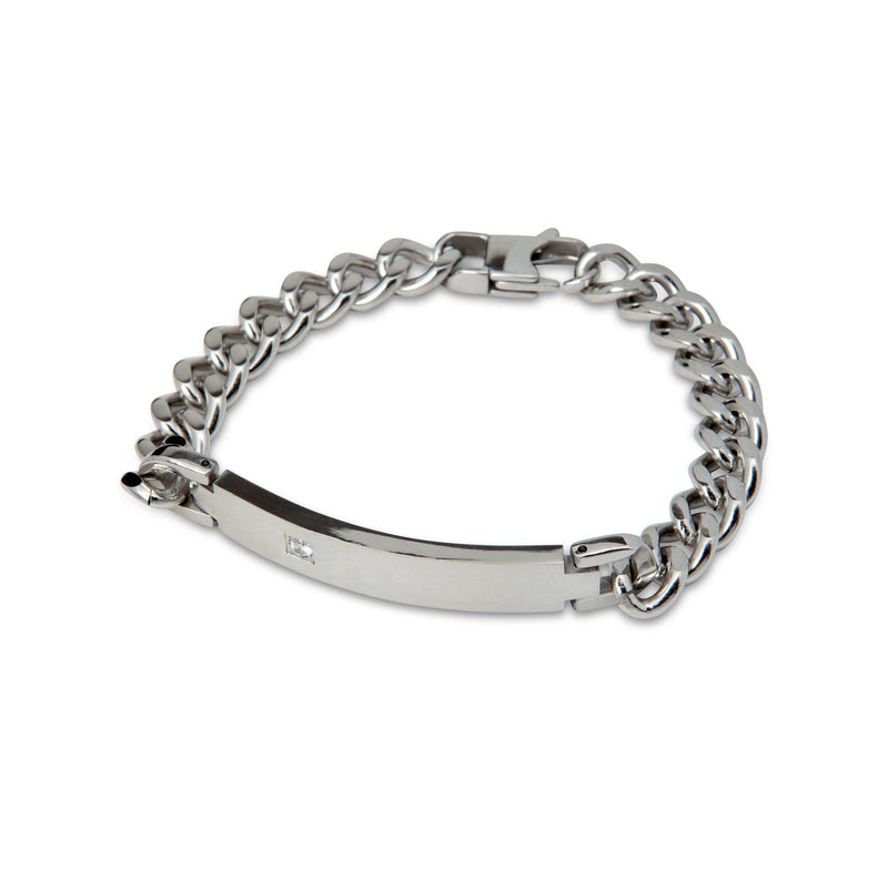 Diamond Embedded Silver Band Chain Bracelet