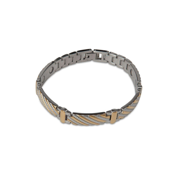 Gold and Textured Silver Striped Bracelet