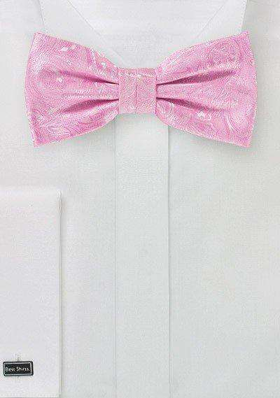 Carnation Pink Proper Paisley Bowtie