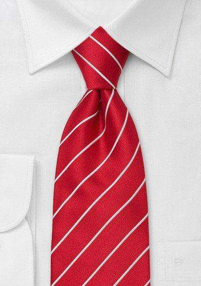Bright Red and White Narrow Striped Necktie