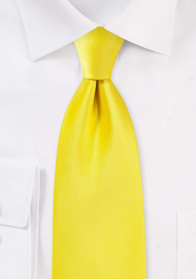 Canary Solid Necktie - Men Suits