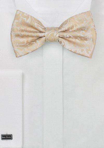Champagne Floral Paisley Bowtie - Men Suits