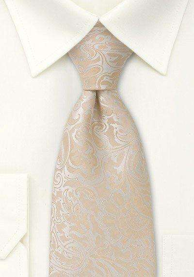 Champagne Floral Paisley Necktie