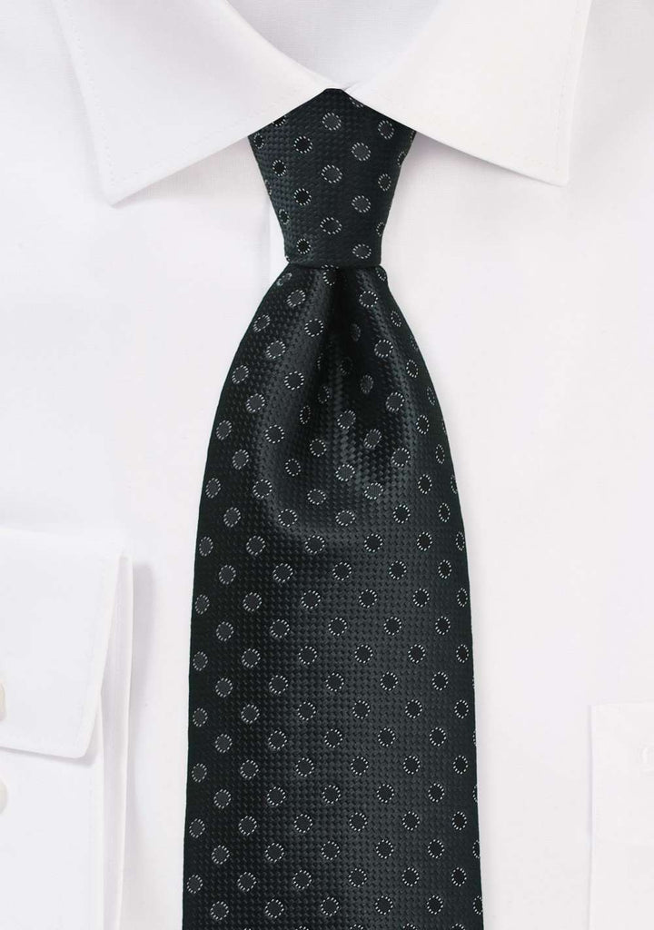 Charcoal and Black Polka Dot Necktie - Men Suits