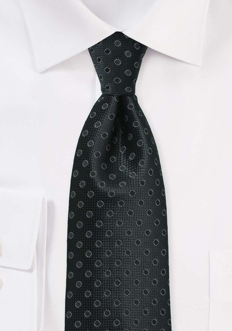 Charcoal and Black Polka Dot Necktie
