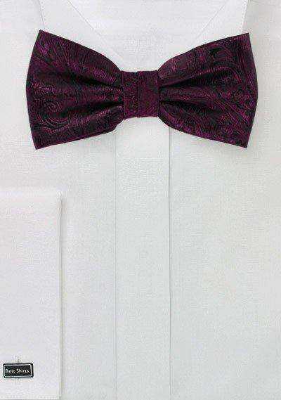 Claret Red Proper Paisley Bowtie - Men Suits