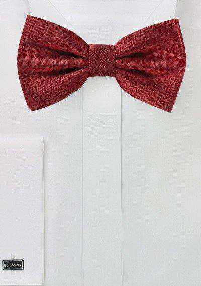 Cherry Red Herringbone Bowtie