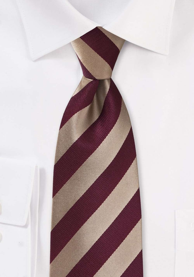 Burgundy and Gold Repp&Regimental Striped Necktie - Men Suits