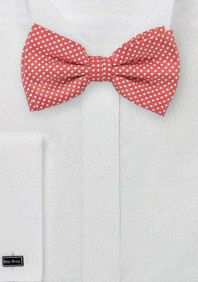 Coral Red Pin Dot Bowtie