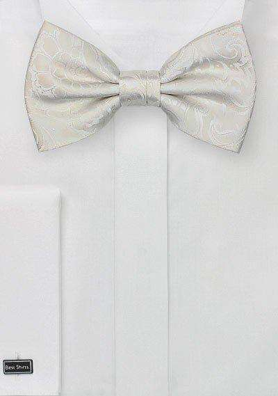 Ivory Floral Paisley Bowtie - Men Suits