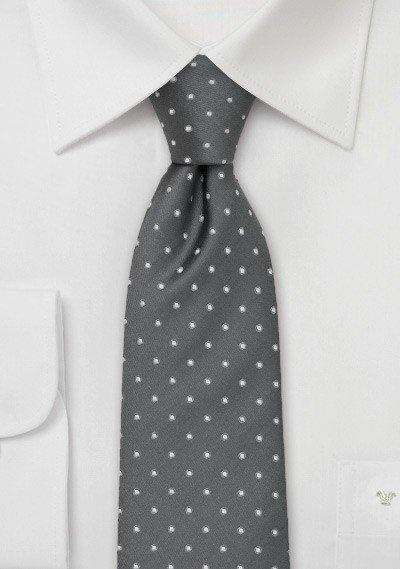 Silver and White Polka Dot Necktie - Men Suits