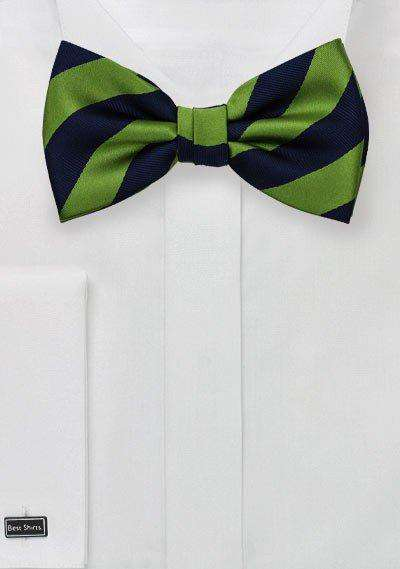 Citrus Green and Navy Repp&Regimental Striped Bowtie