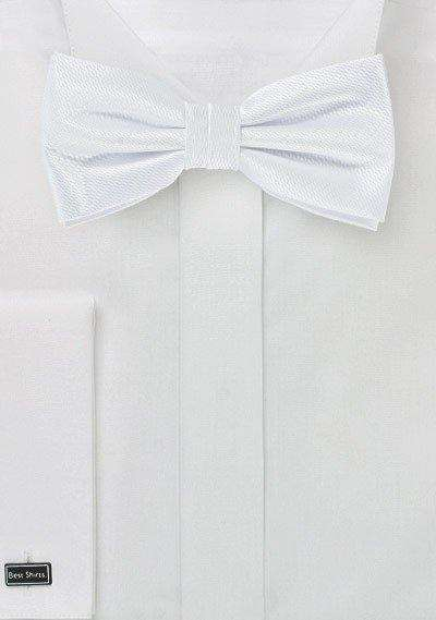 Pure White Small Texture Bowtie - Men Suits
