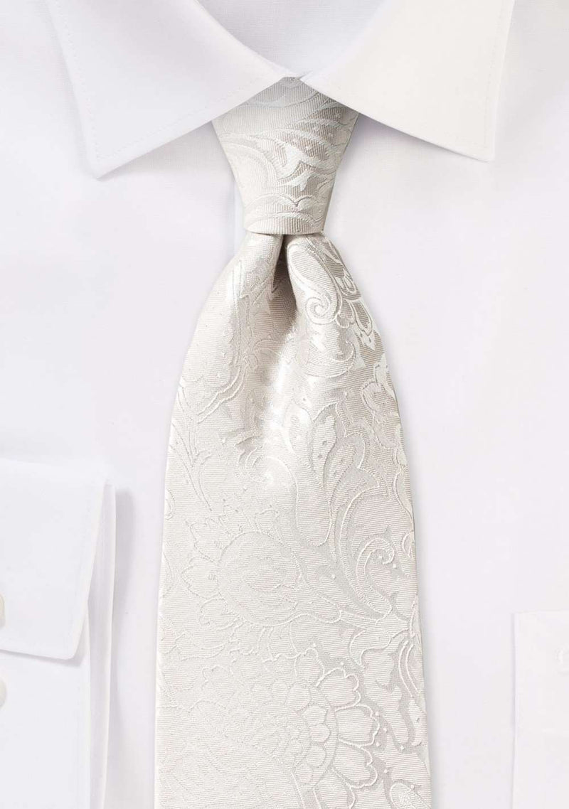 Ivory Floral Paisley Necktie