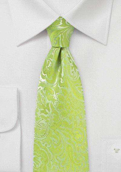Lime Floral Paisley Necktie - Men Suits