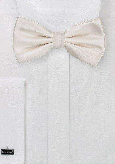 Cream Solid Bowtie - Men Suits
