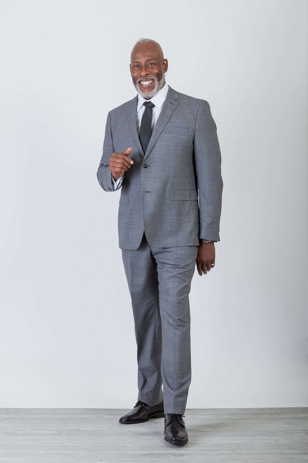 Med Gray Sharkskin Wool Stretch Suit - Men Suits