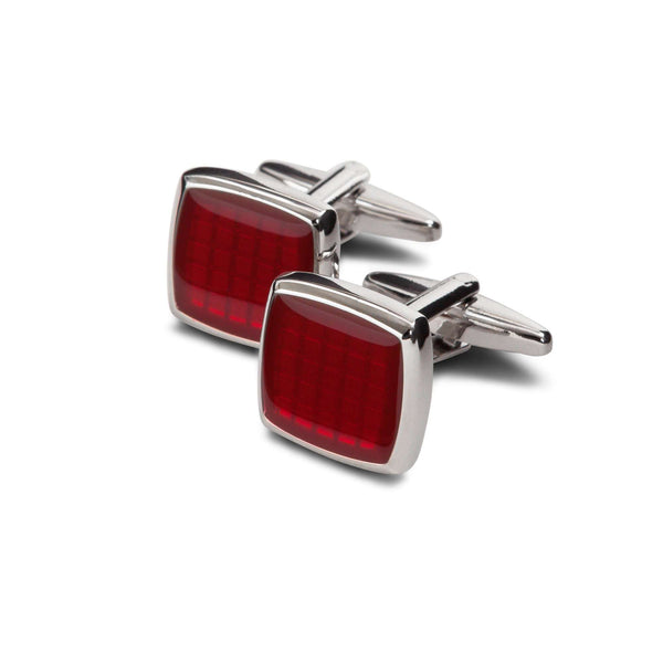 Red Crystal Square Cufflinks - Men Suits