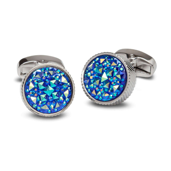 Multi-Bezzled Blues Cufflinks - Men Suits