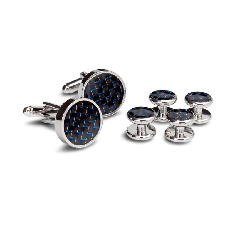 Knitted Black and Blue Cufflinks and Studs