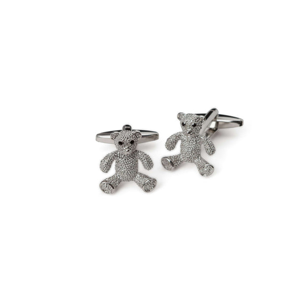 Silver Teddy Bear Cufflinks - Men Suits