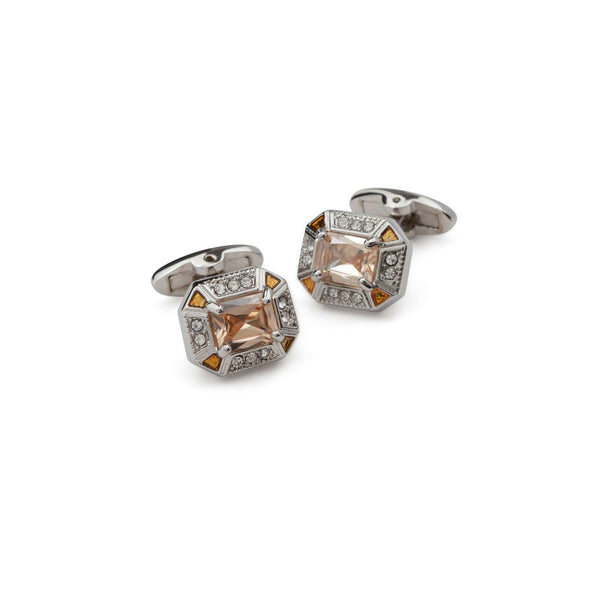 Orange Quartz Bezzled Cufflinks - Men Suits