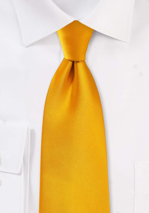 Golden Saffron Solid Necktie - Men Suits