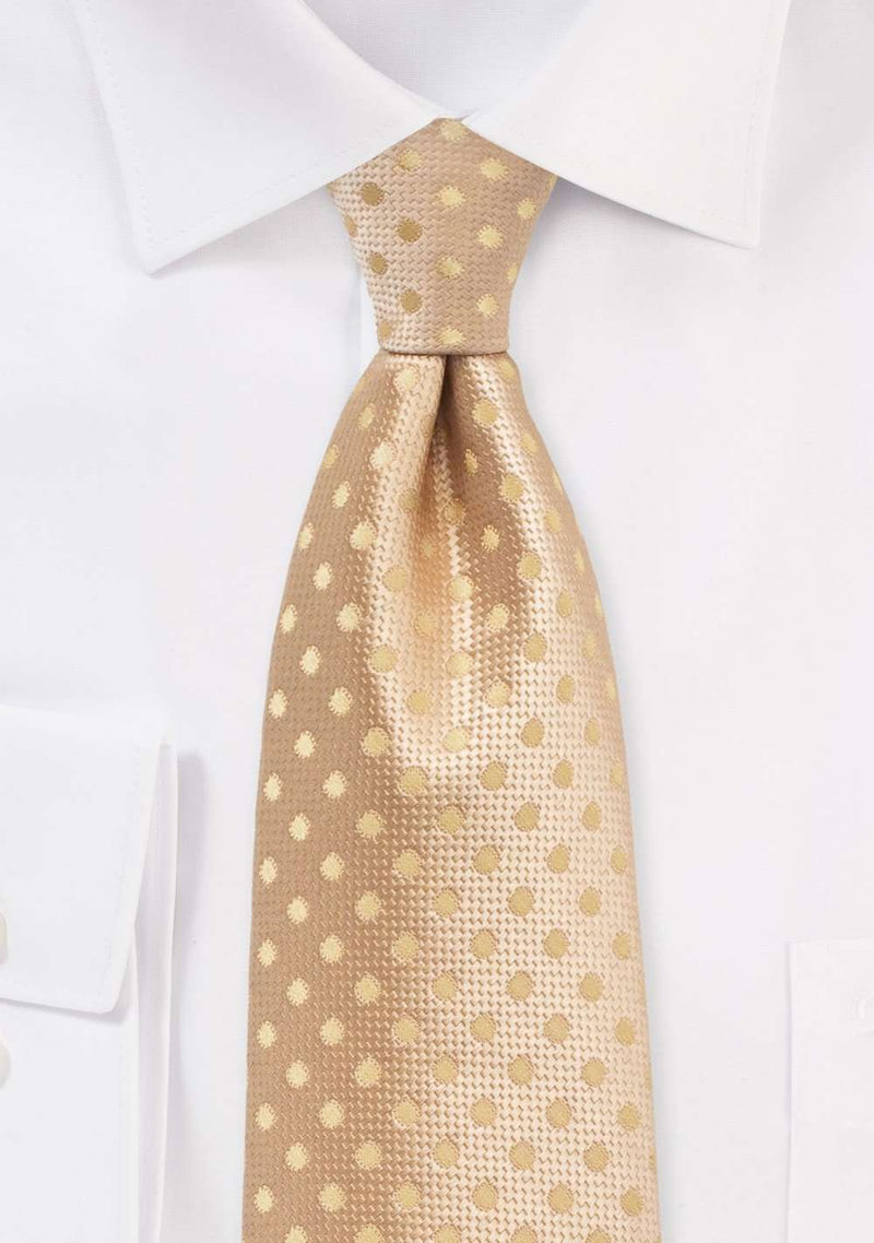 Golden Straw Polka Dot Necktie