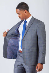 Grey/Blue Window Pane 2 Button Suit