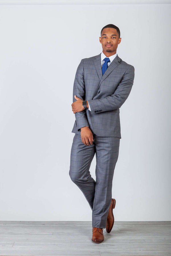 Grey/Blue Window Pane 2 Button Suit - Men Suits