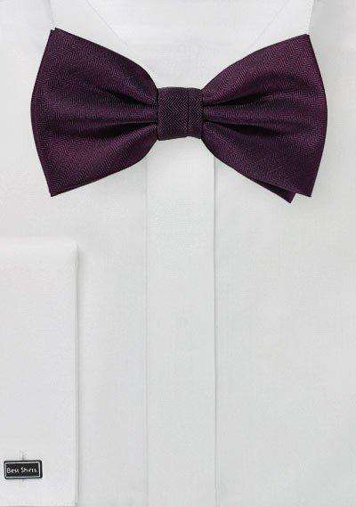 Grape Purple Herringbone Bowtie
