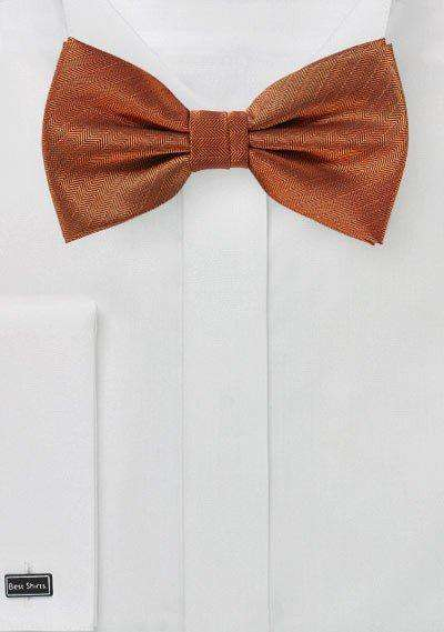 Burnt Orange Herringbone Bowtie