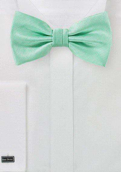 Mint Herringbone Bowtie - Men Suits