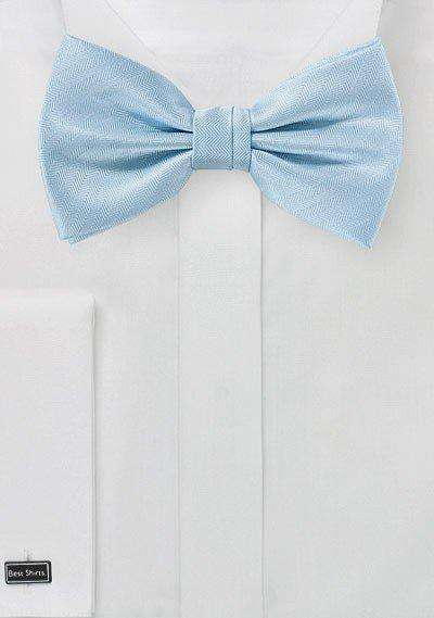Powder Blue Herringbone Bowtie - Men Suits