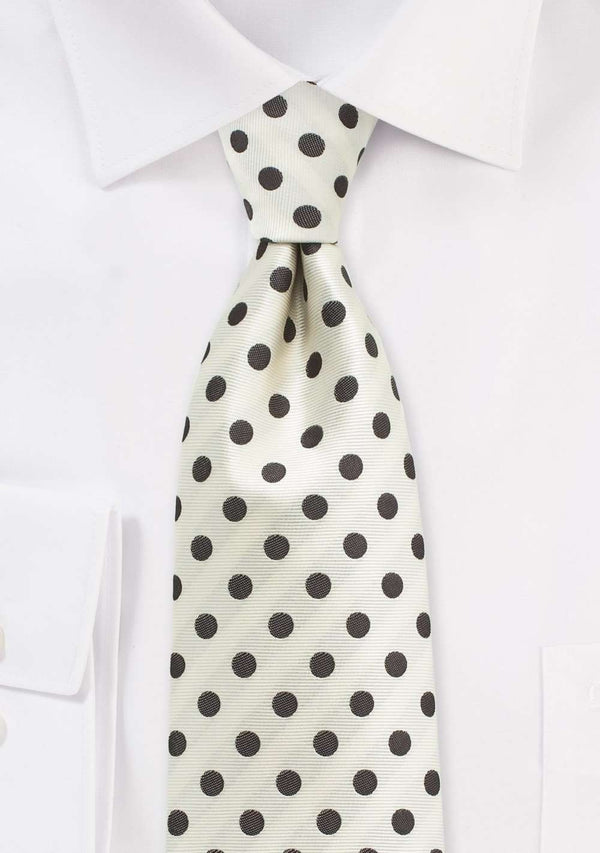 Ivory and Brown Polka Dot Necktie - Men Suits
