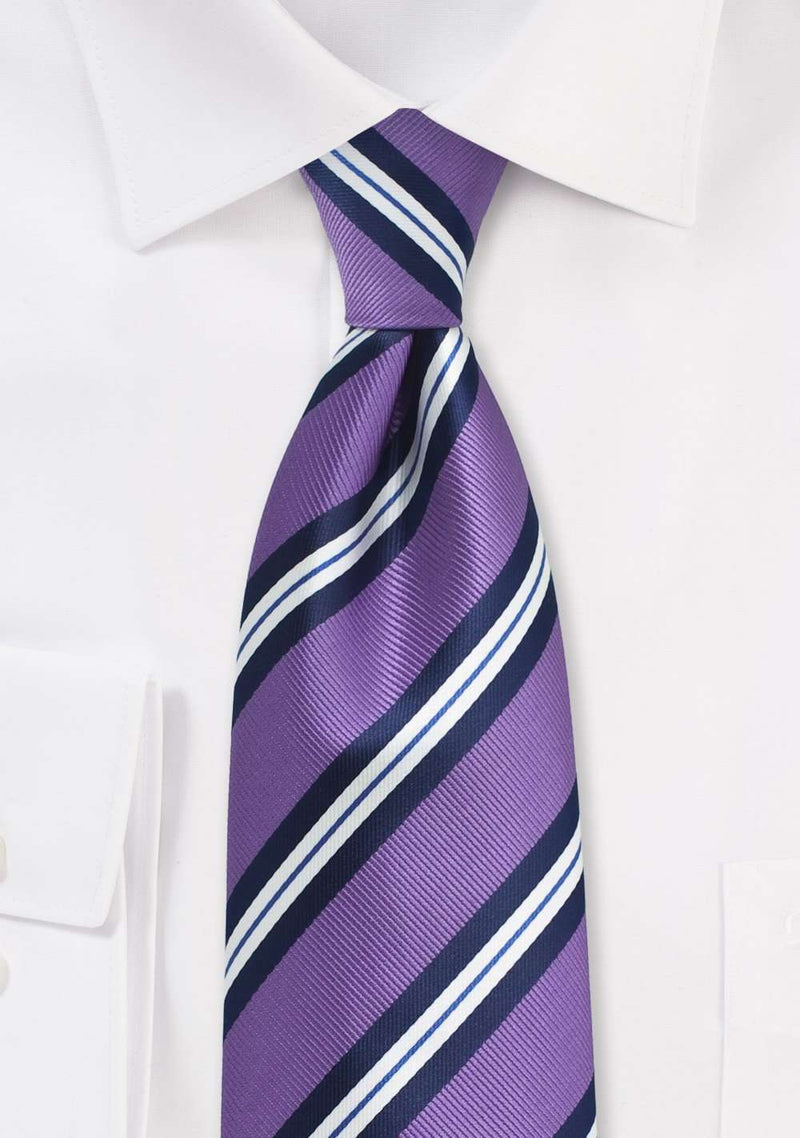 Lilac Double Narrow Striped Necktie