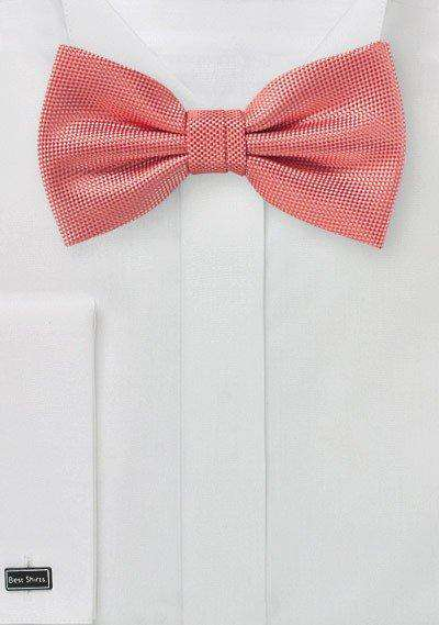 Neon Coral MicroTexture Bowtie - Men Suits