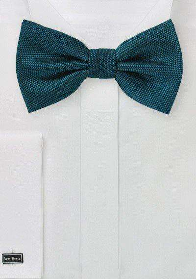 Peacock Teal MicroTexture Bowtie - Men Suits