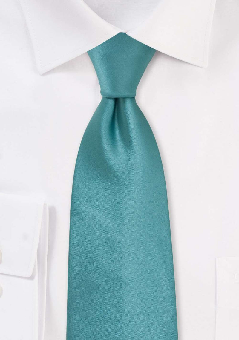 Teal Solid Necktie - Men Suits