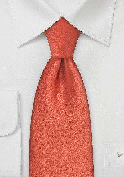 Dark Coral Solid Necktie - Men Suits