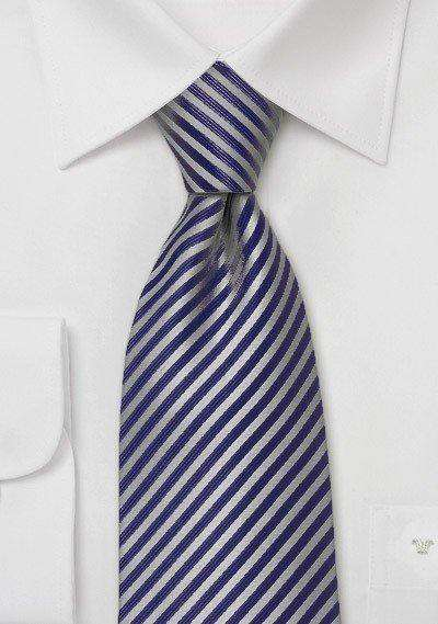 Midnight Blue Narrow Striped Necktie